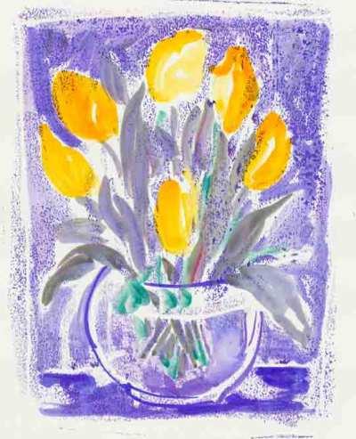tulipes-jaunes-sur-fond-bleu