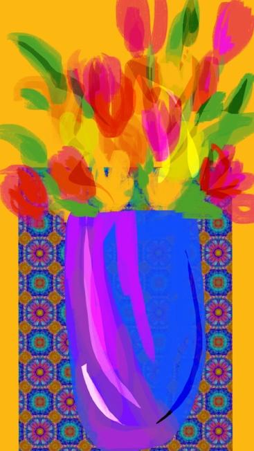 bouquet vase bleu 2