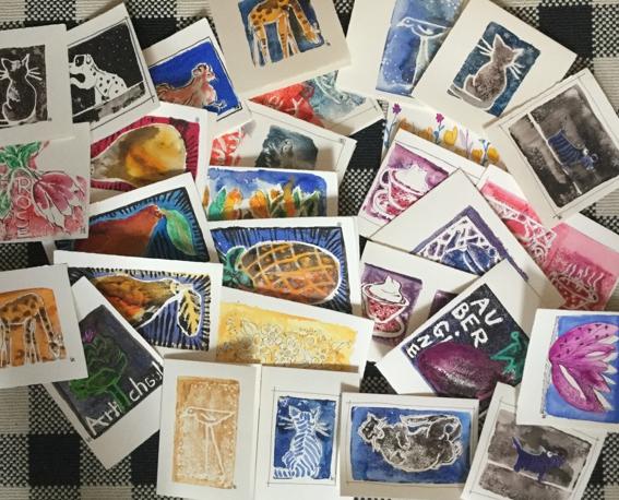 cartes peintes a la main 2016