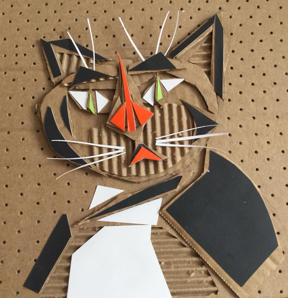 recycled cardboard cat